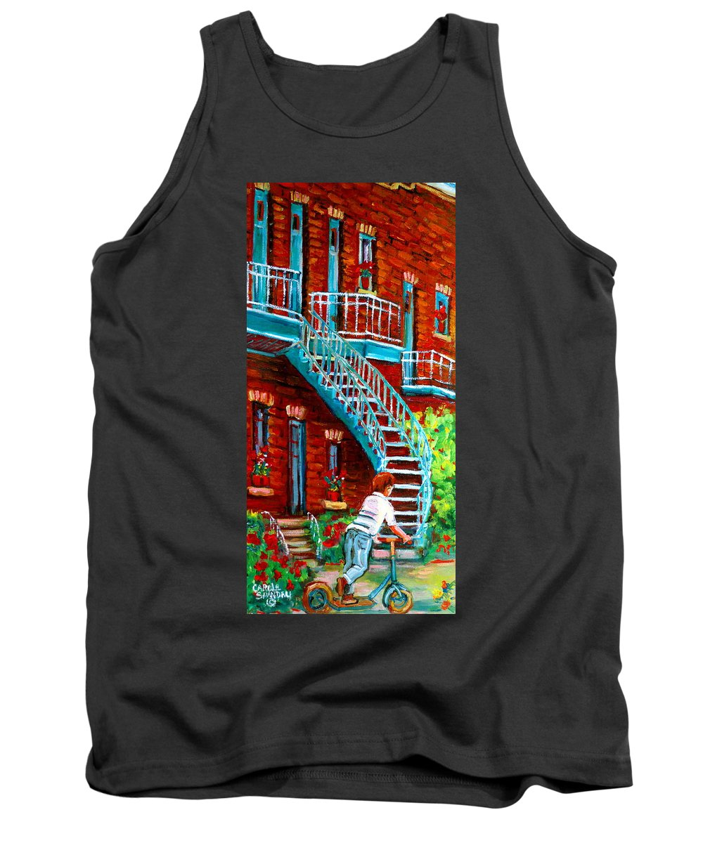 Debullion Street Tank Top featuring the painting Scooter Ride Along Coloniale Street by Carole Spandau