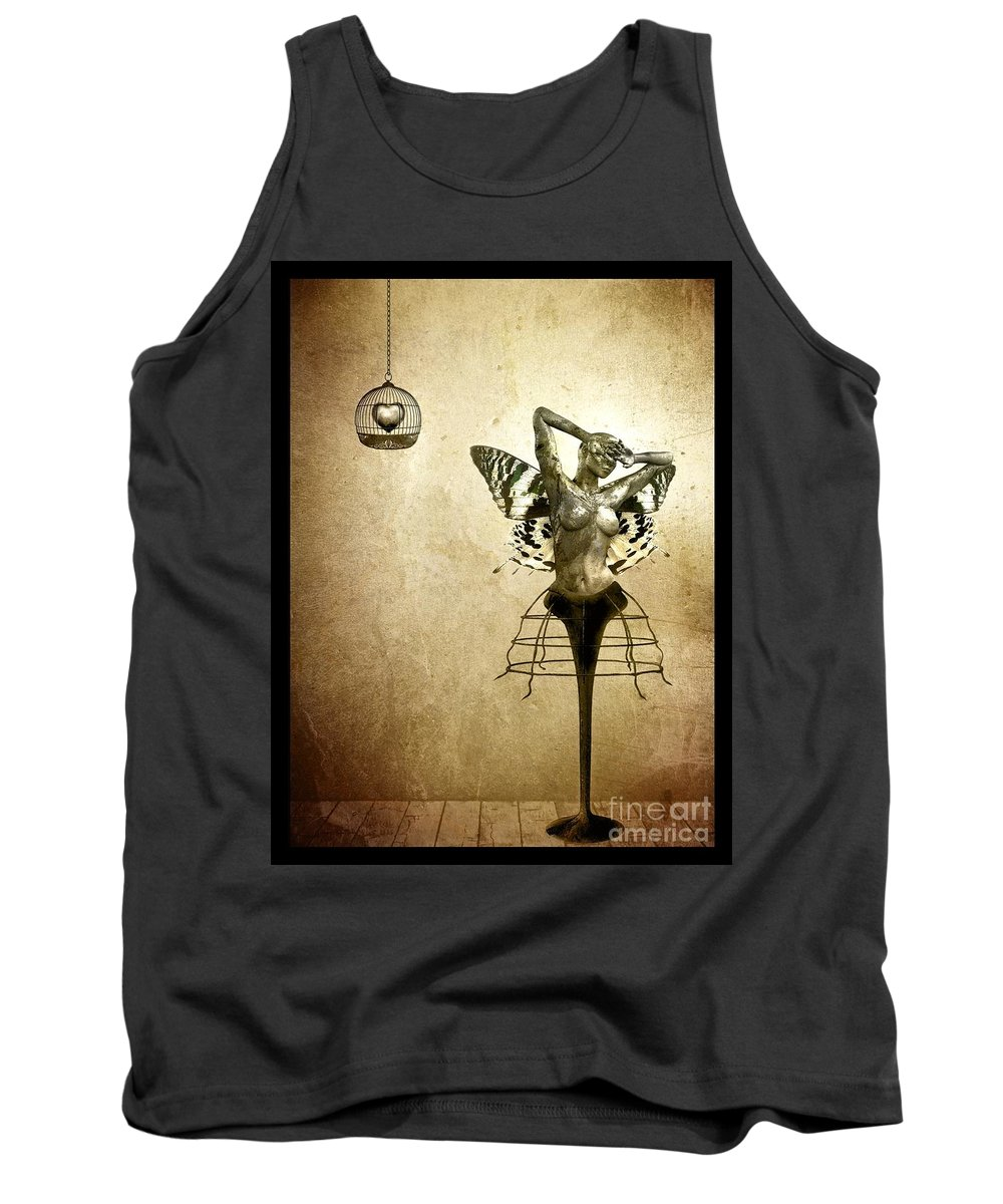 Digital Tank Top featuring the painting Scream Of A Butterfly by Jacky Gerritsen