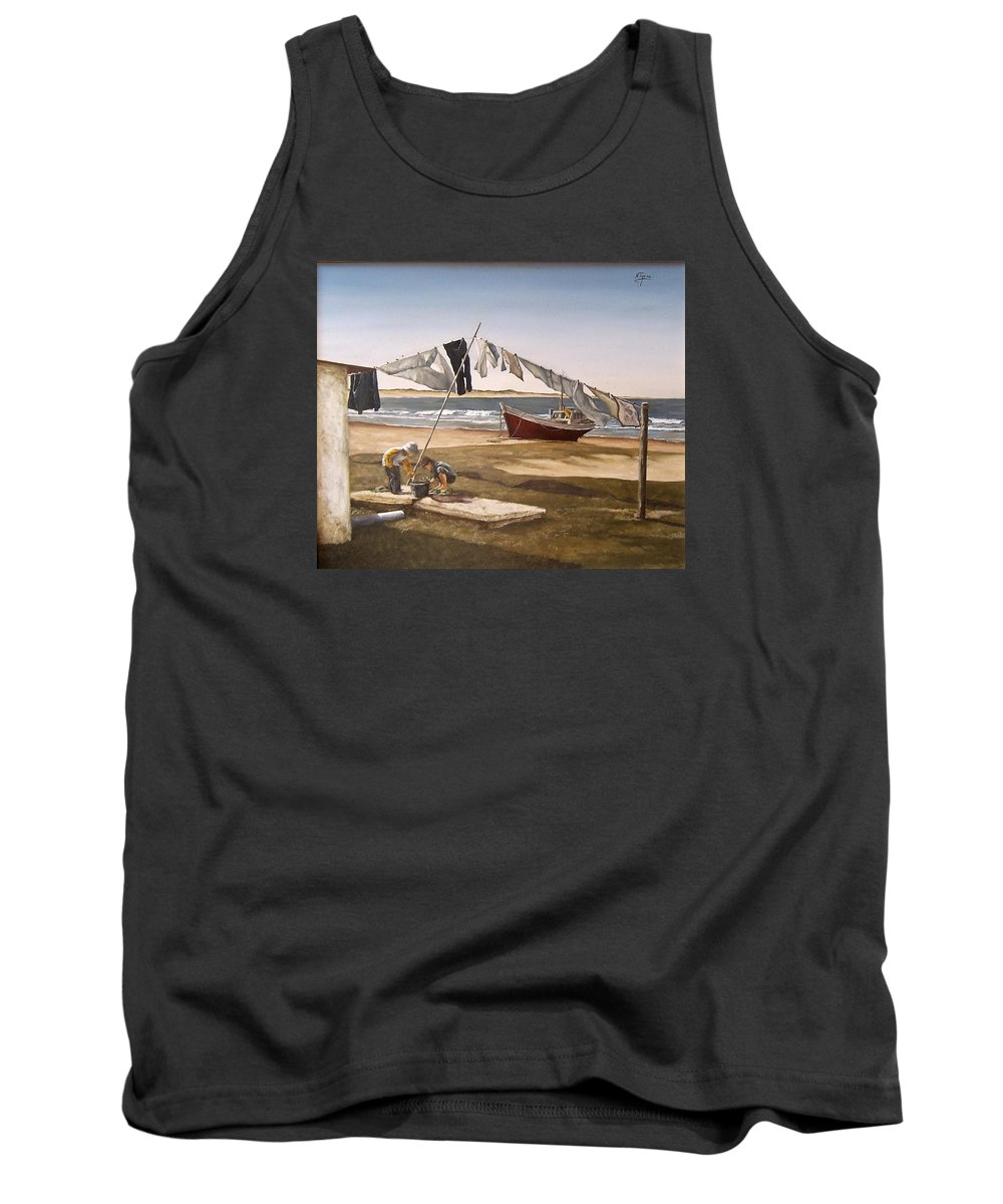 Kids Seascape Boat Painting Portrait Figurative Seascape Sea Tank Top featuring the painting Sea Kids by Natalia Tejera