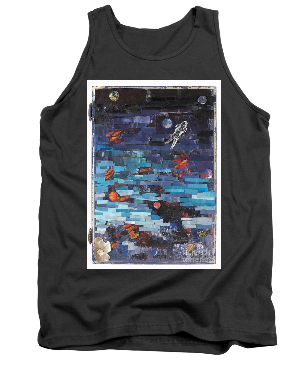 Astronaut Tank Top featuring the mixed media Sea Space by Jaime Becker