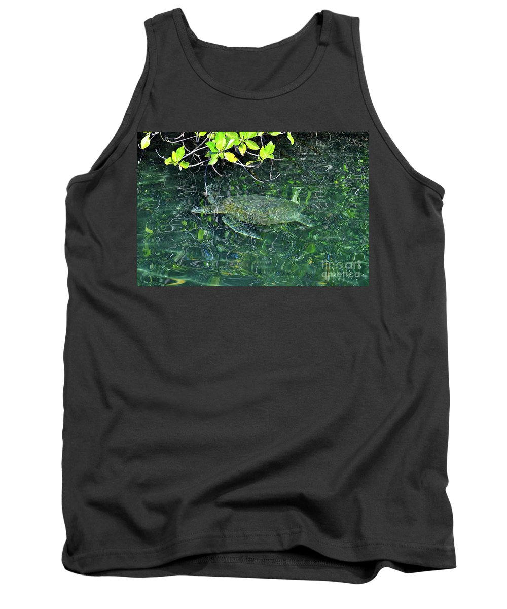 Turtle Tank Top featuring the photograph Sea Turtle In Galapagos Lagoon by Bruce Chevillat
