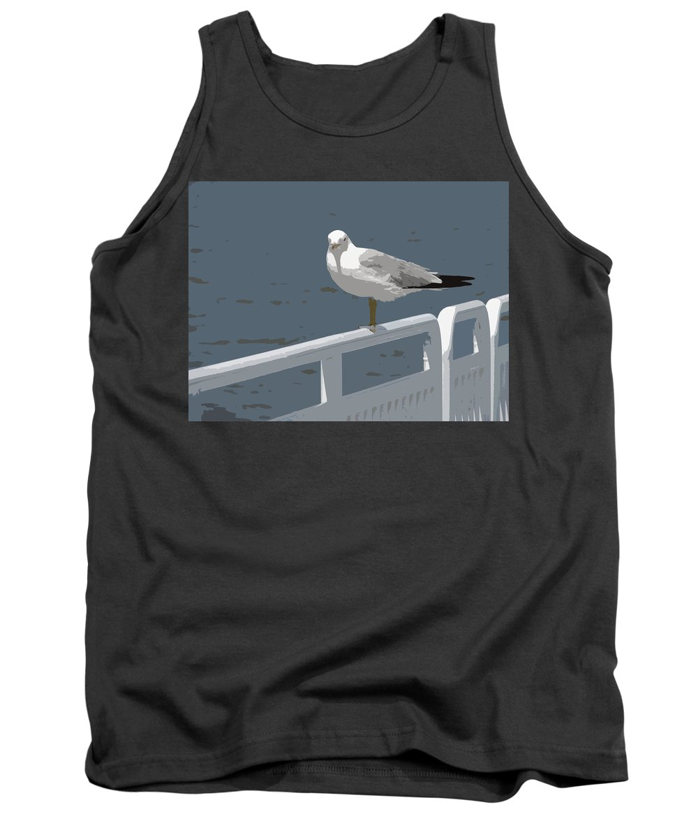 Seagull Tank Top featuring the photograph Seagull On The Rail by Michelle Calkins