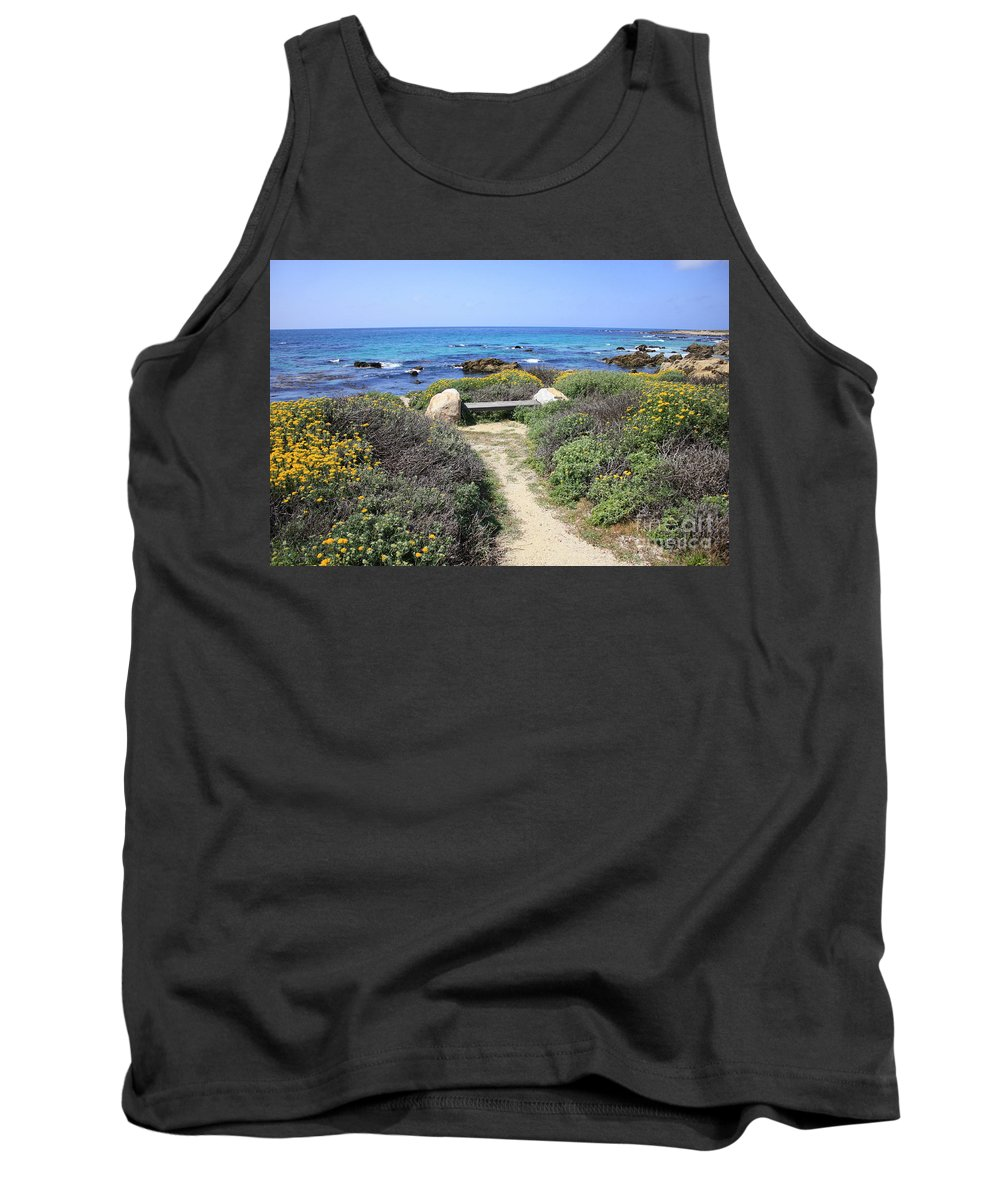 Landscape Tank Top featuring the photograph Seaside Bench by Carol Groenen