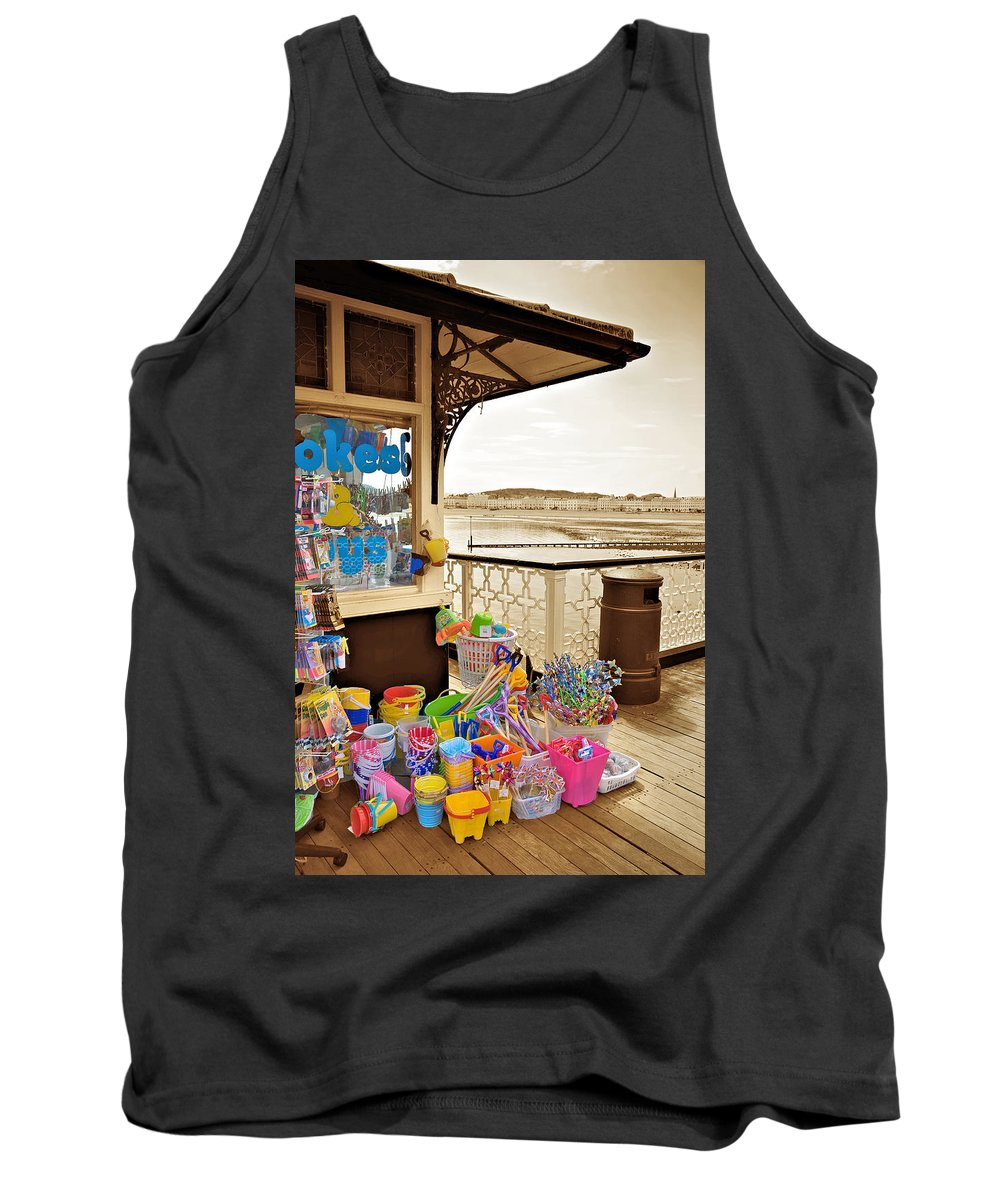 Seaside Tank Top featuring the photograph Seaside Buckets And Spades For Sale On Llandudno Pier by Mal Bray