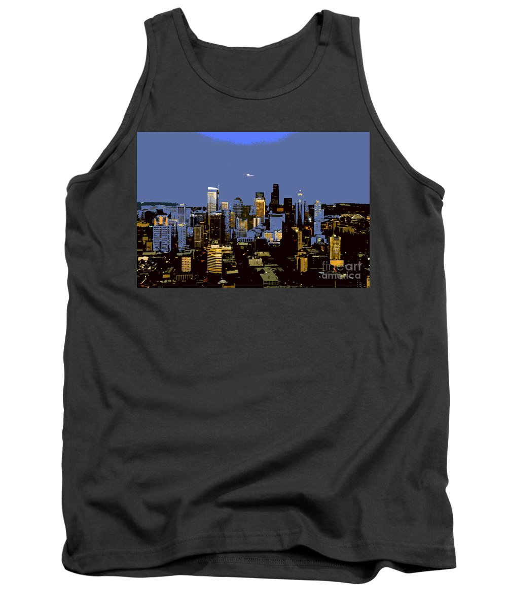 Seattle Washington Tank Top featuring the painting Seattle City by David Lee Thompson