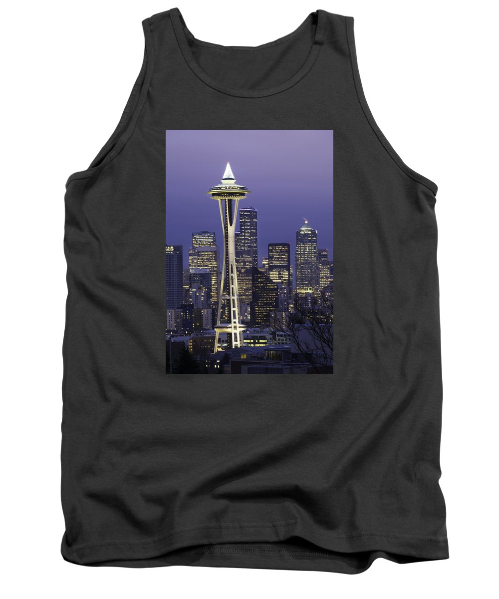 Seattle Tank Top featuring the photograph Seattle Space Needle 0200 by Bob Neiman