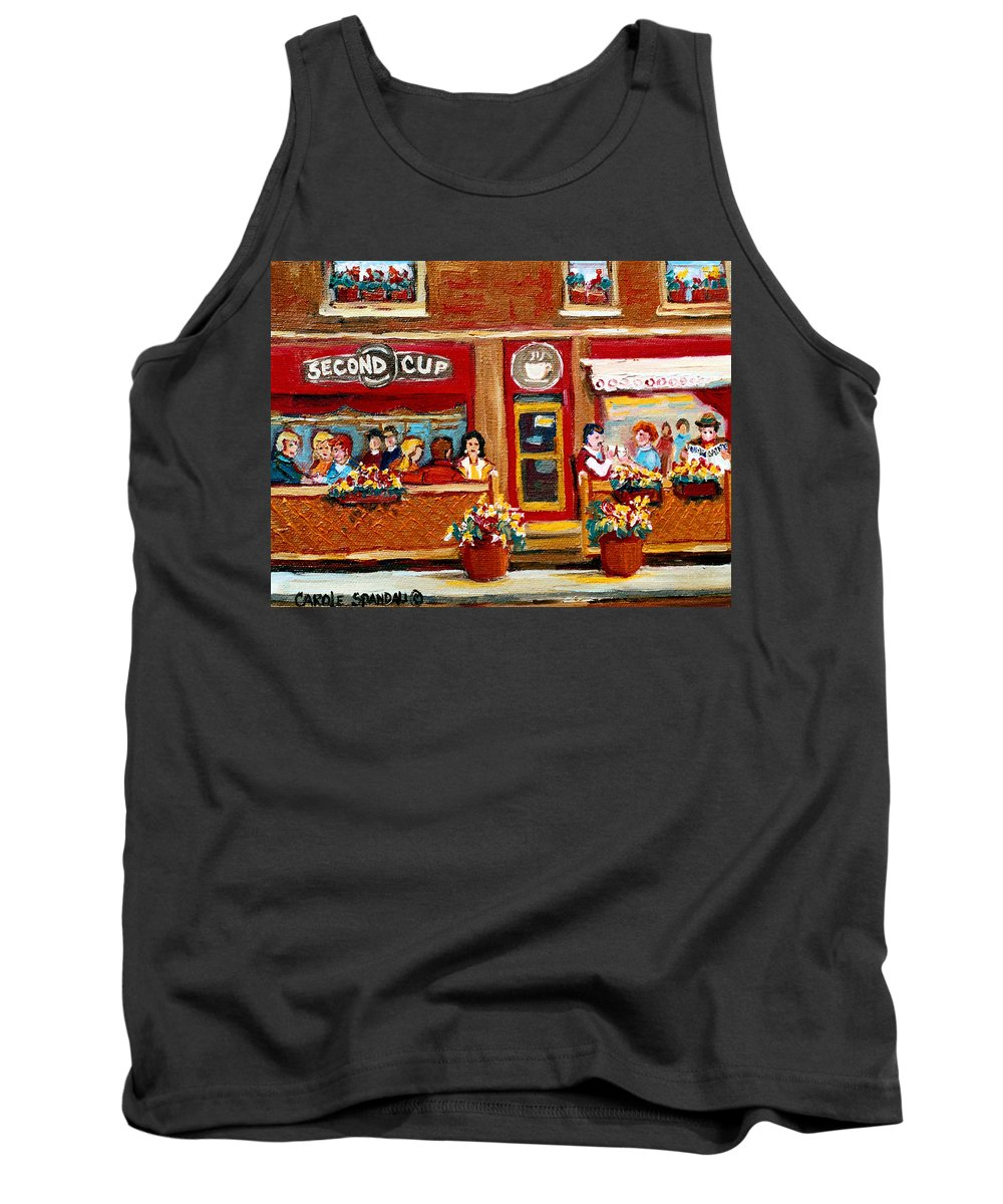 Second Cup Coffee Shop Tank Top featuring the painting Second Cup Coffee Shop by Carole Spandau