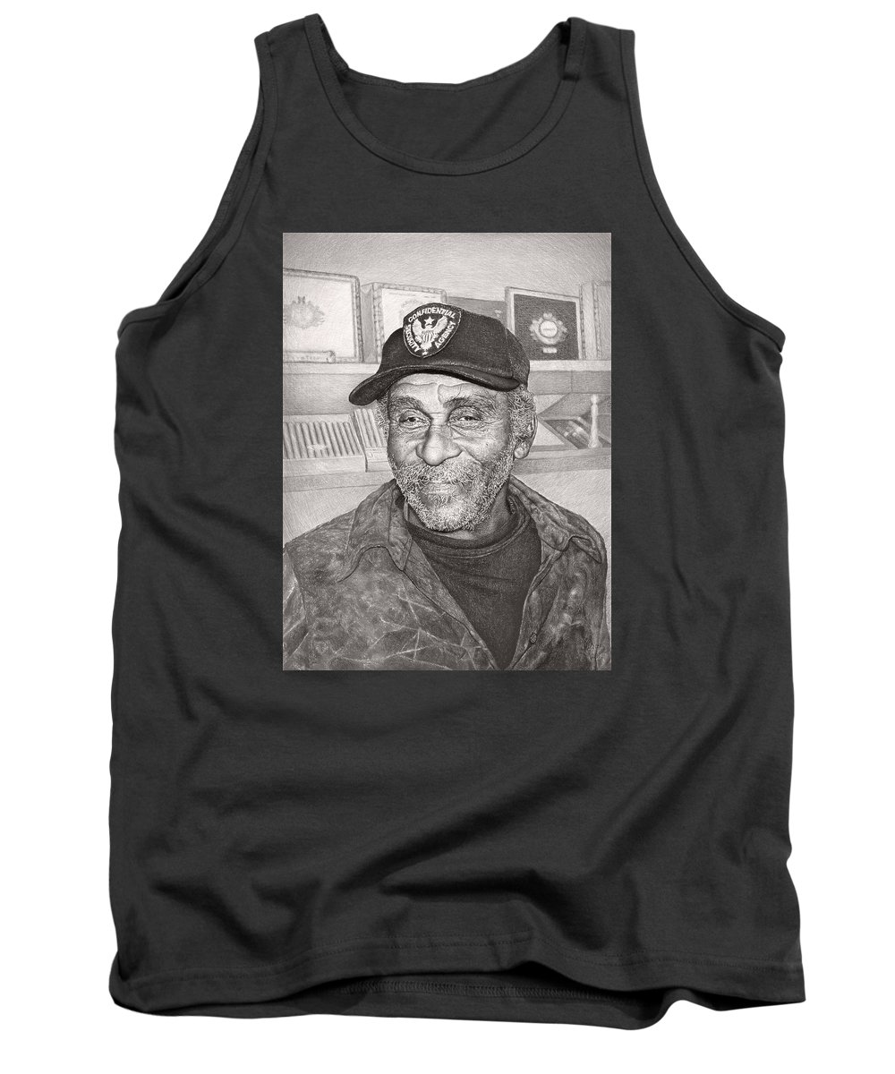 Art Tank Top featuring the drawing Security Man by Ilgvars Rauda