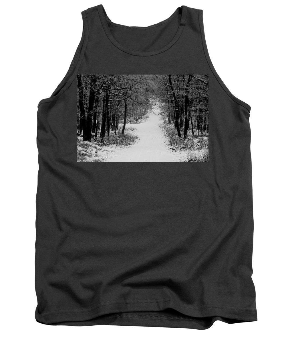 Snow Tank Top featuring the photograph See Where It Leads. by Jean Macaluso
