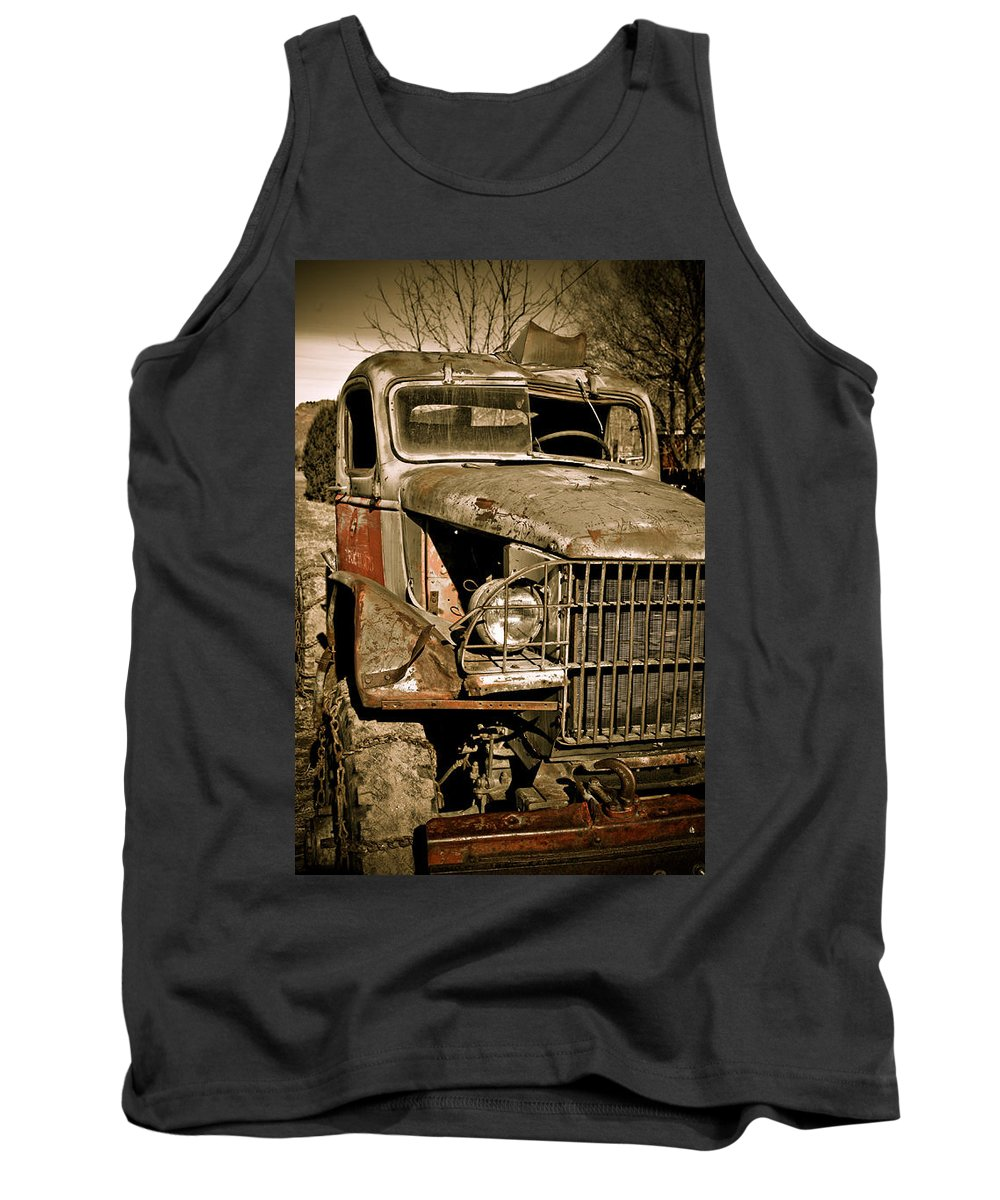 Old Vintage Antique Truck Worn Western Tank Top featuring the photograph Seen Better Days by Marilyn Hunt