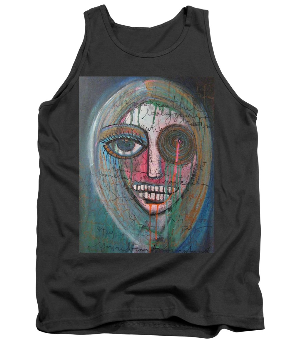 Self Portraits Tank Top featuring the painting Self Portrait Youre Beautiful by Laurie Maves ART