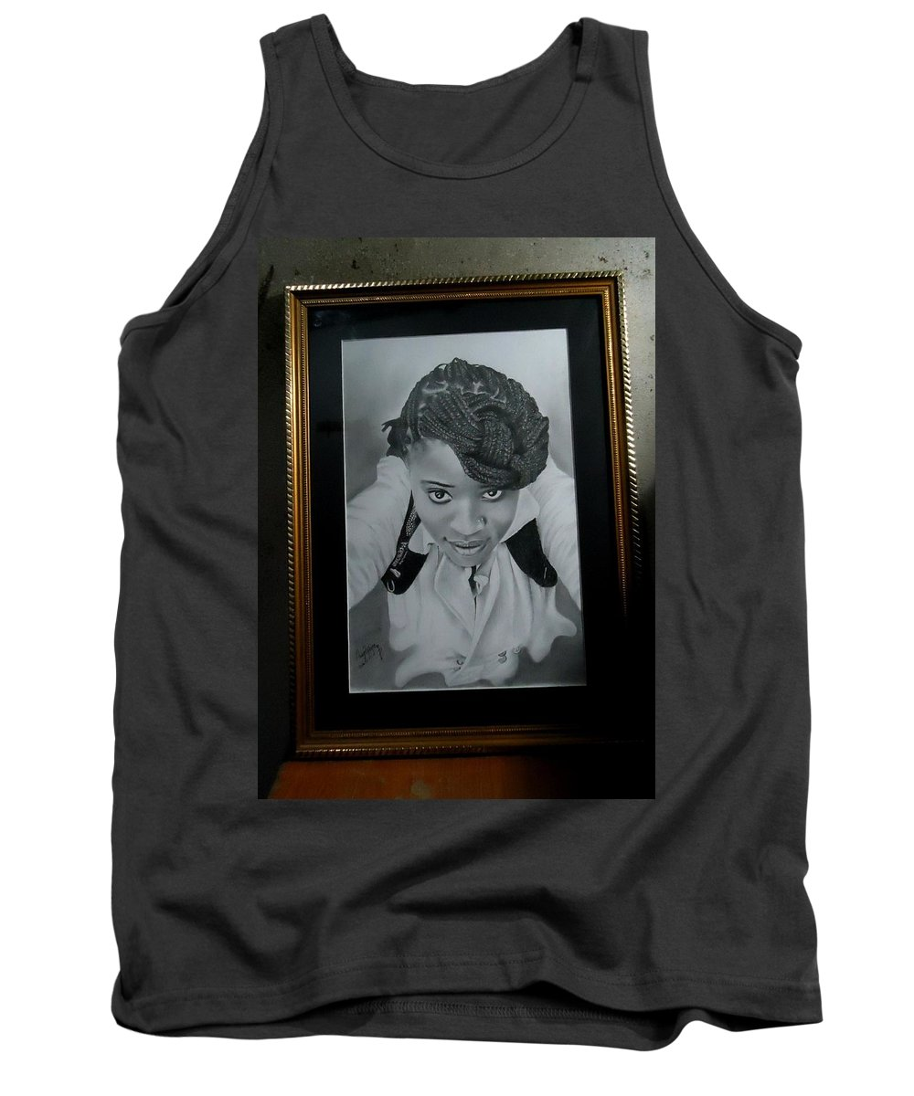 Pencil Drawing Tank Top featuring the drawing Selfie Mode by Guy B Rapsy