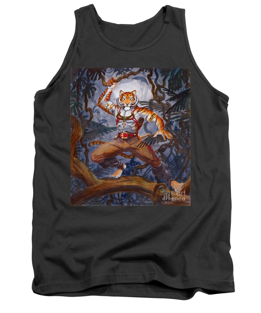 Cat Tank Top featuring the painting Sense Dark by Melissa A Benson