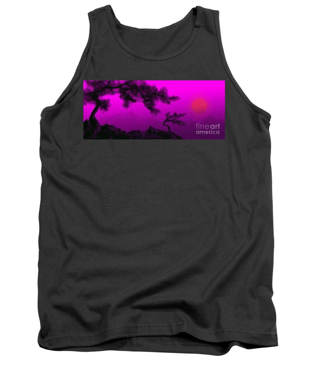 Japanese; Sunset; Mountains; Trees; Rising; Sun; Contemporary; Purple; Pink;sunrise; Sunset Tank Top featuring the painting Serenity by James Christopher Hill