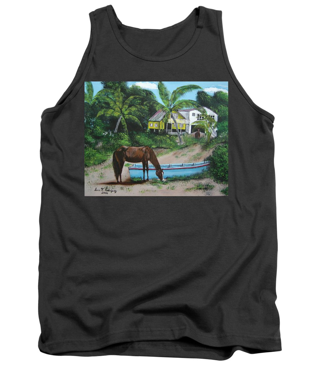 Aguadilla Tank Top featuring the painting Serenity by Luis F Rodriguez