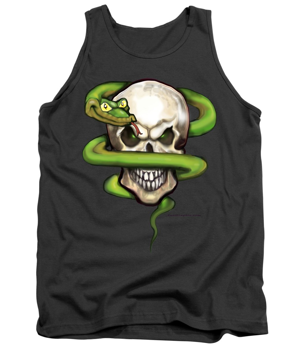 Serpent Tank Top featuring the digital art Serpent Evil Skull by Kevin Middleton