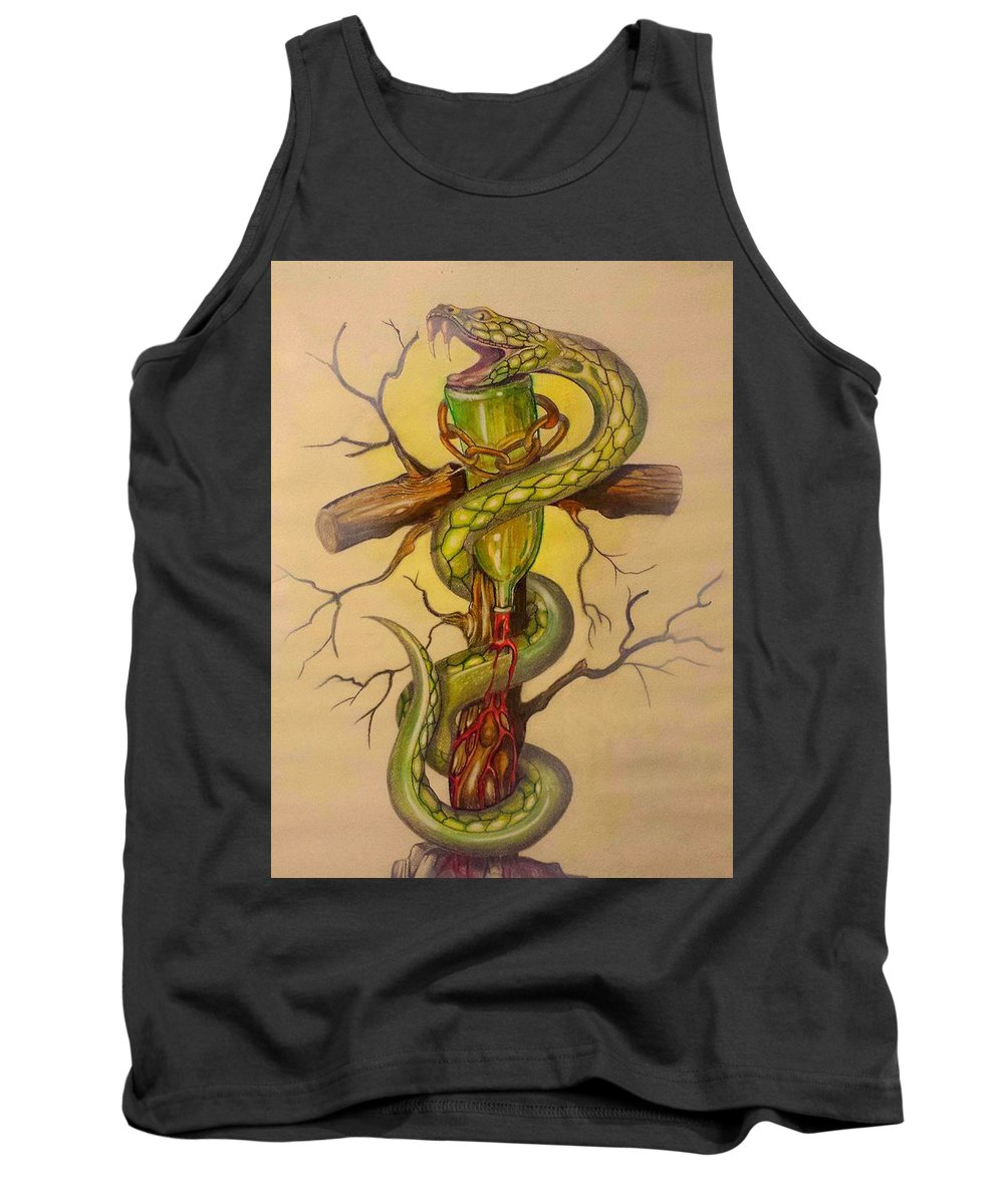 Snakes Tank Top featuring the drawing Serpent's Law by Luciano Fais