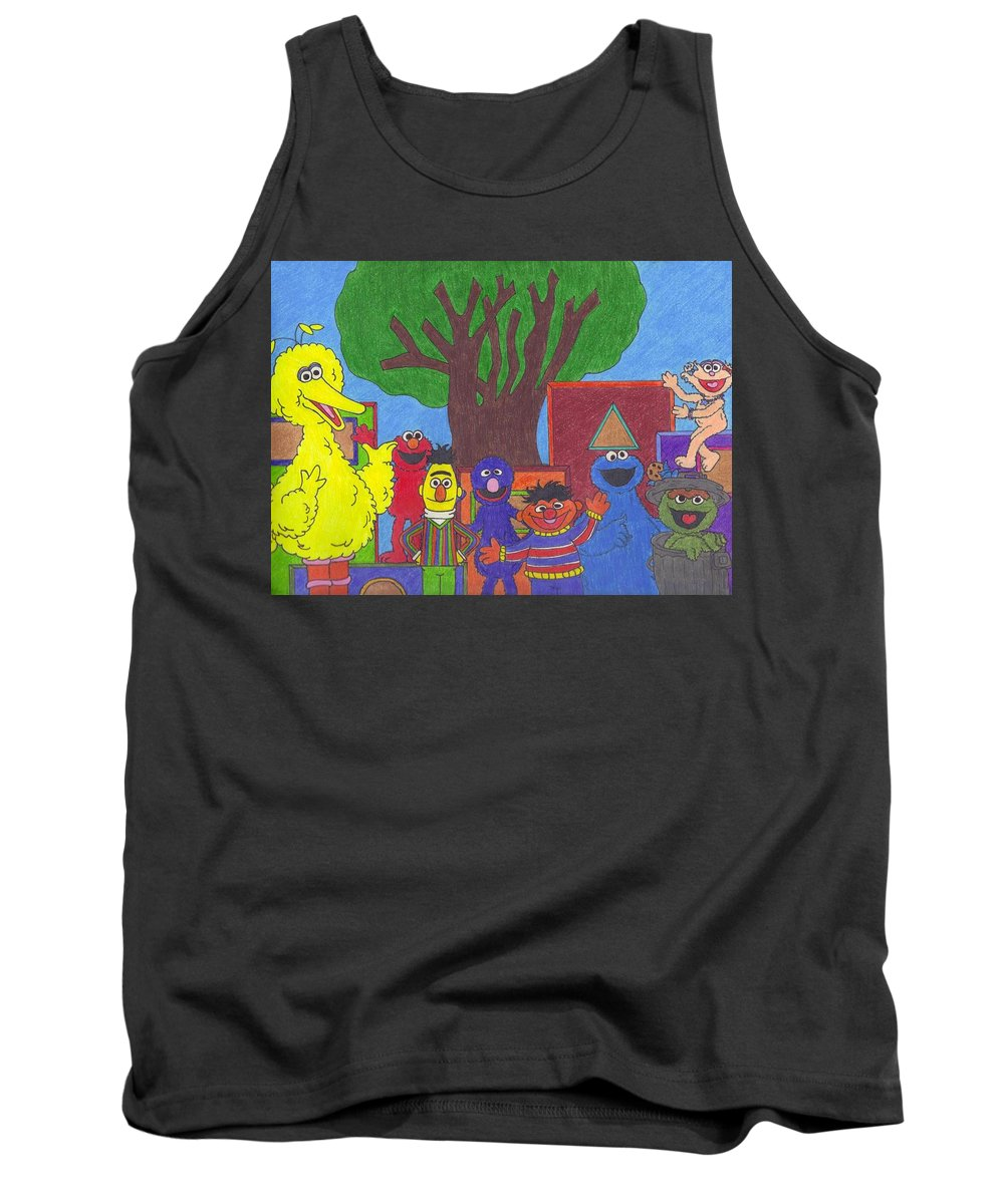 Shapes Tank Top featuring the drawing Children's Characters by Jill Christensen