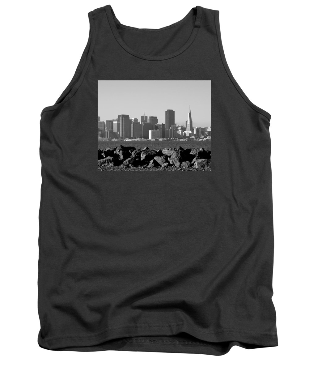 Tank Top featuring the photograph Sf Skyline Bw by Dean Ferreira