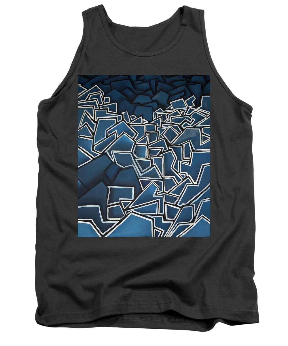 Abstract Tank Top featuring the painting Shadderd Space by Thomas Valentine
