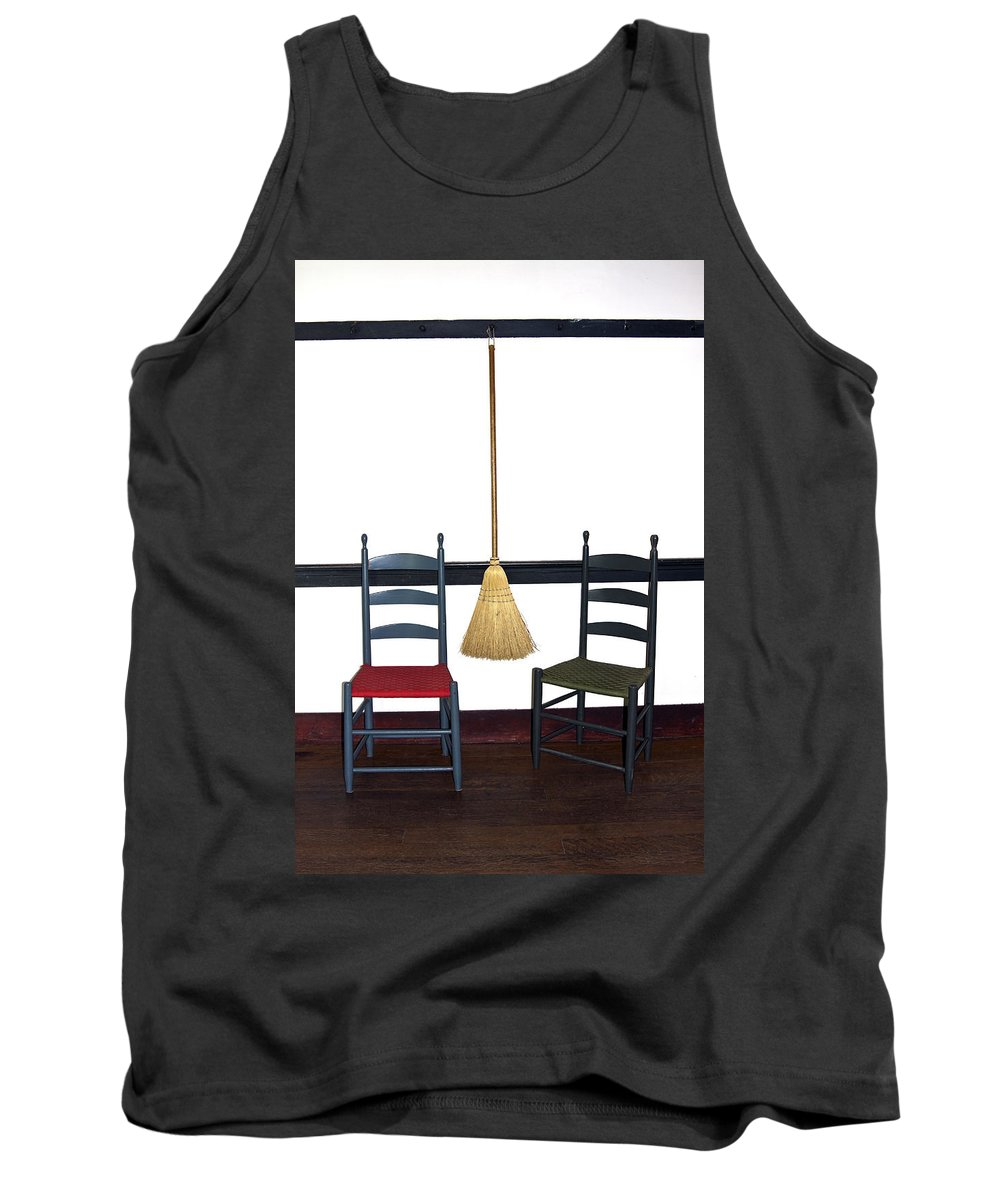Shaker Chairs Tank Top featuring the photograph Shaker Chairs And Broom by Sally Weigand