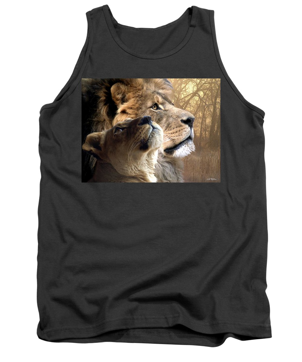 Lions Tank Top featuring the digital art Sharing The Vision by Bill Stephens