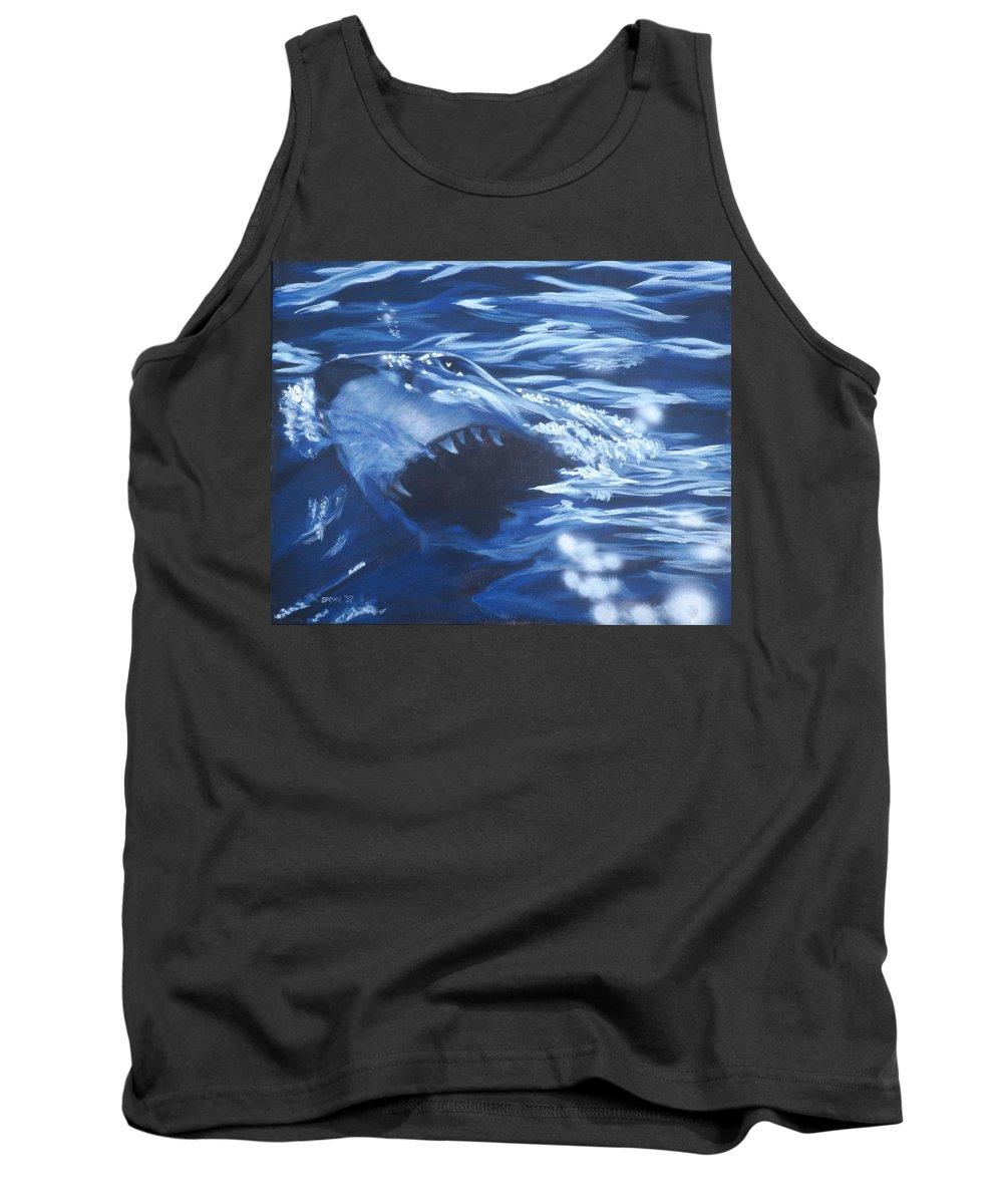 Shark Tank Top featuring the painting Shark by Bryan Bustard