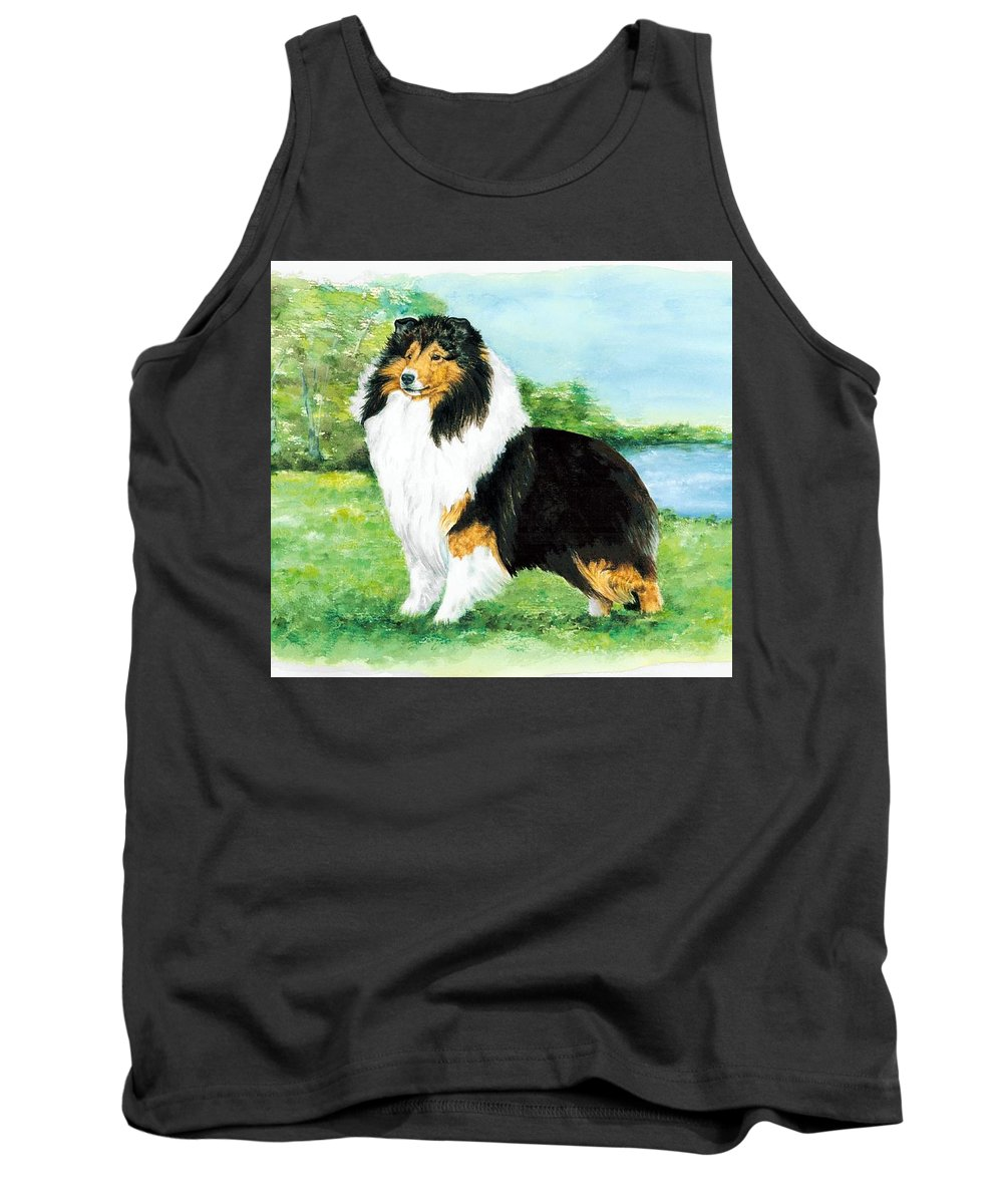 Shetland Sheepdog Tank Top featuring the painting Sheltie Wait by Kathleen Sepulveda
