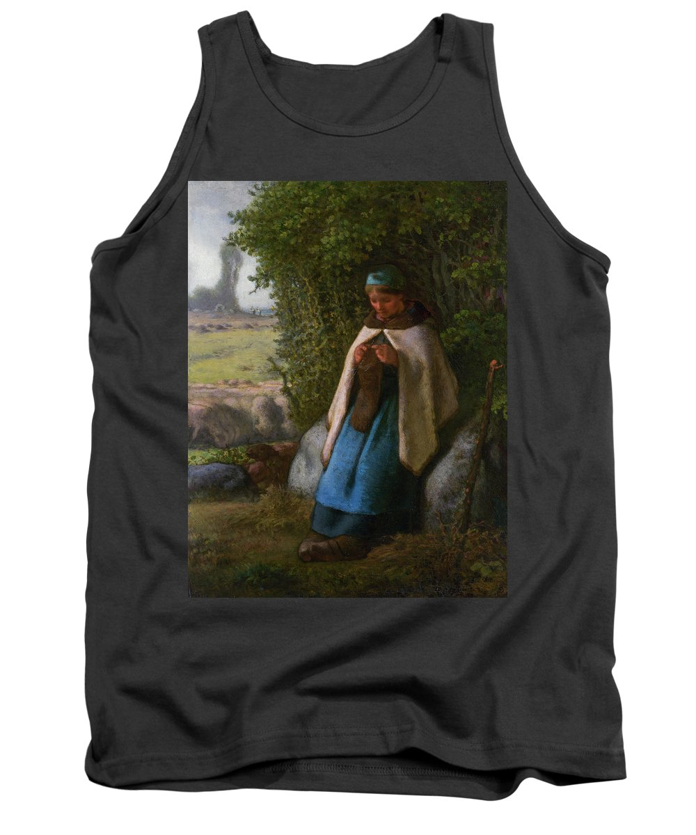 Barbizon School Tank Top featuring the painting Shepherdess Seated On A Rock by Jean-Francois Millet