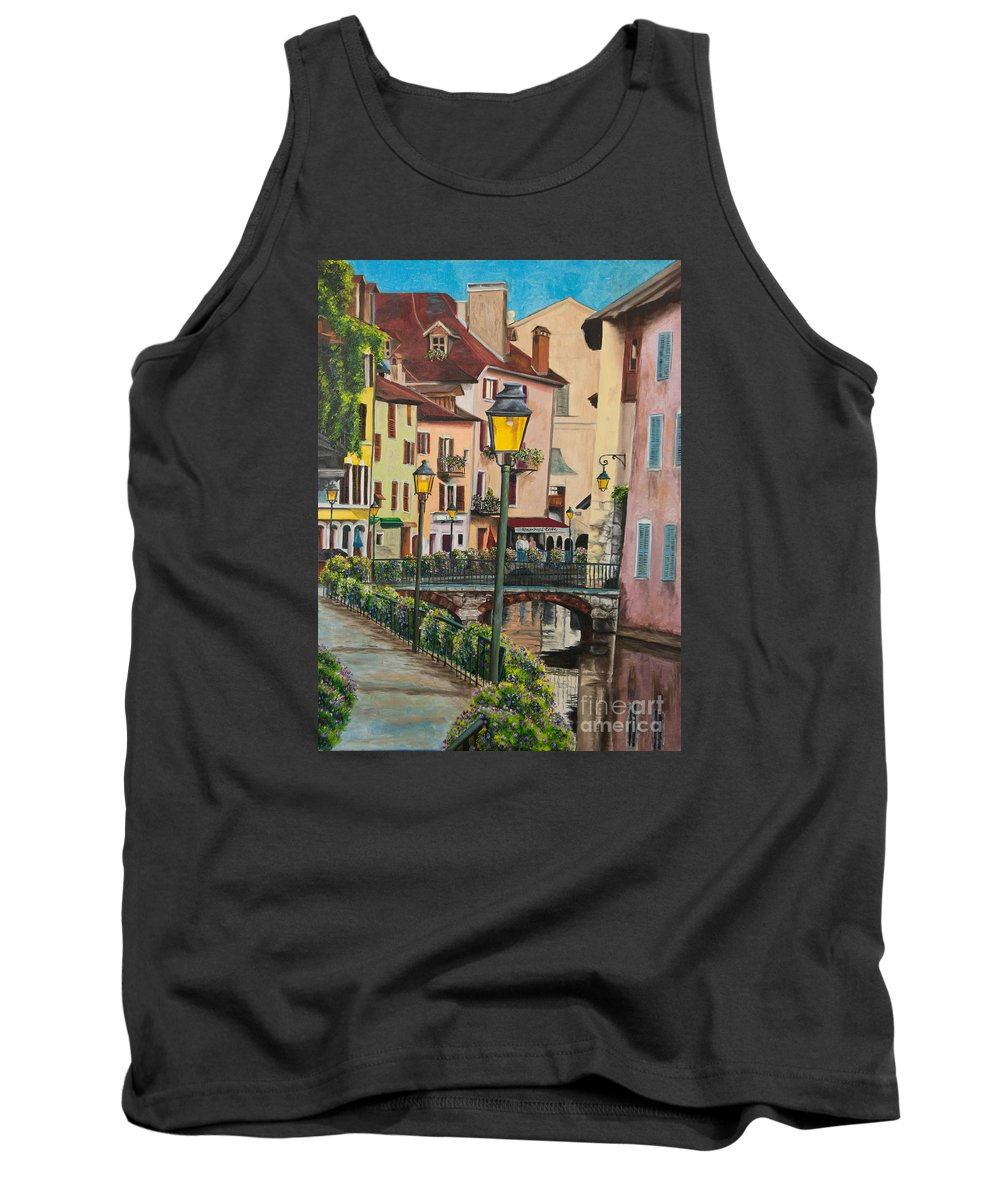Annecy France Art Tank Top featuring the painting Side Streets In Annecy by Charlotte Blanchard