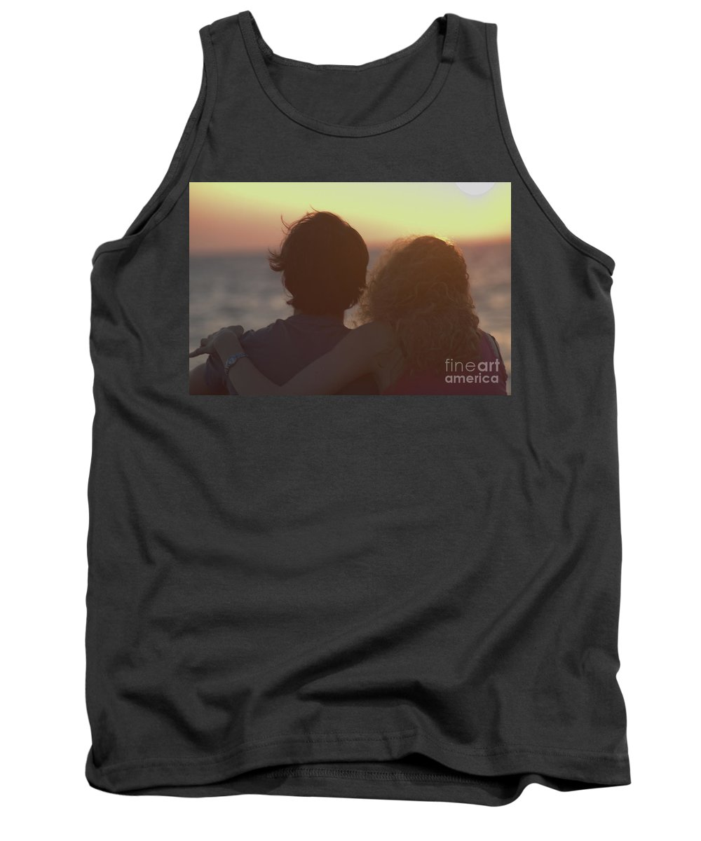 Silhouette Tank Top featuring the photograph Silhouette Of A Romantic Couple by Ilan Rosen
