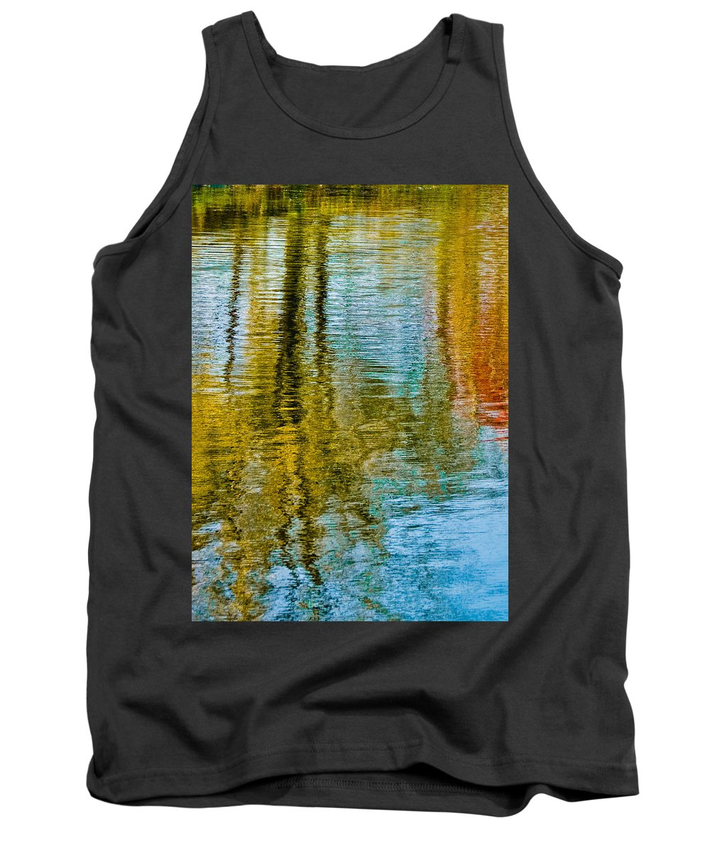 Silver Tank Top featuring the photograph Silver Lake Autum Tree Reflections by Michael Bessler