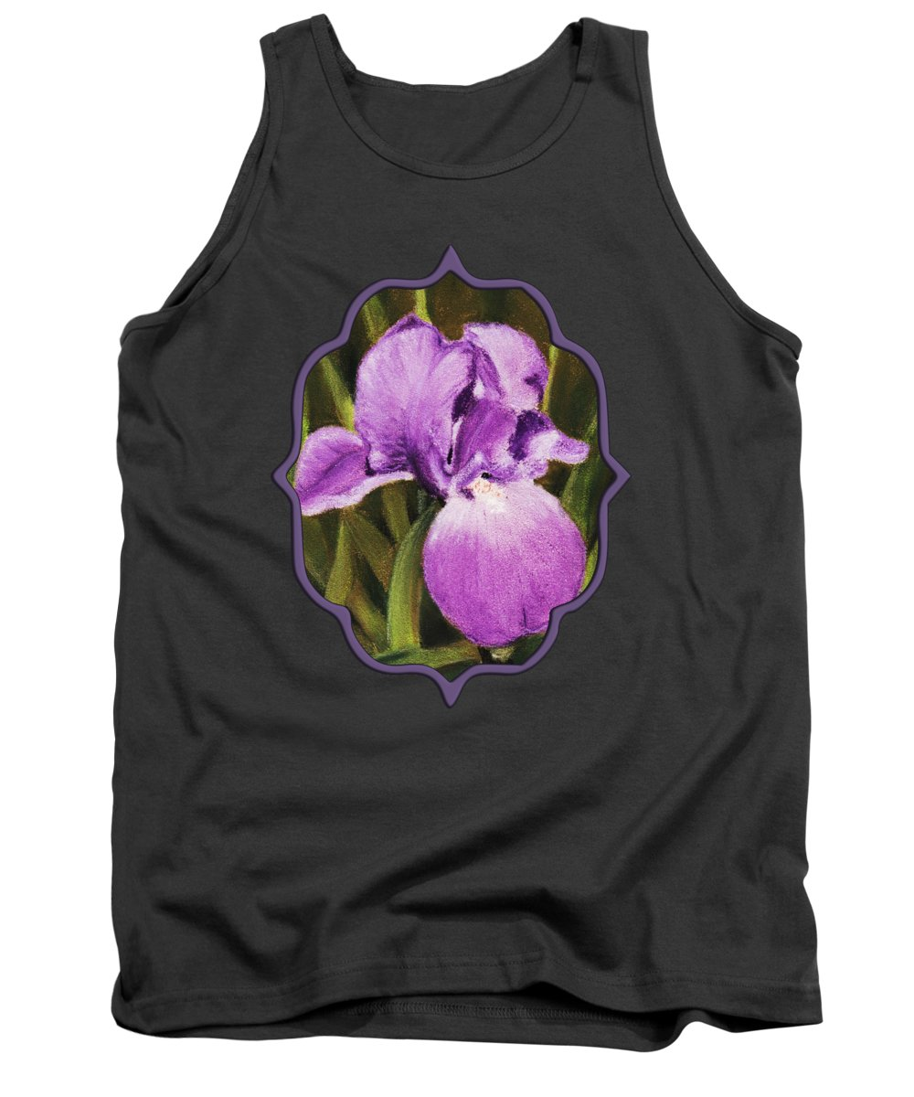 Plant Tank Top featuring the painting Single Iris by Anastasiya Malakhova