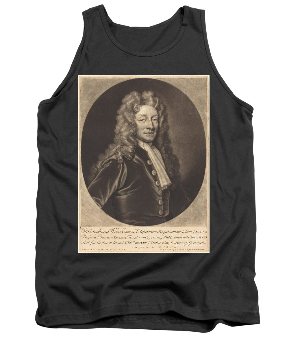 Tank Top featuring the drawing Sir Christopher Wren by John Smith After Sir Godfrey Kneller