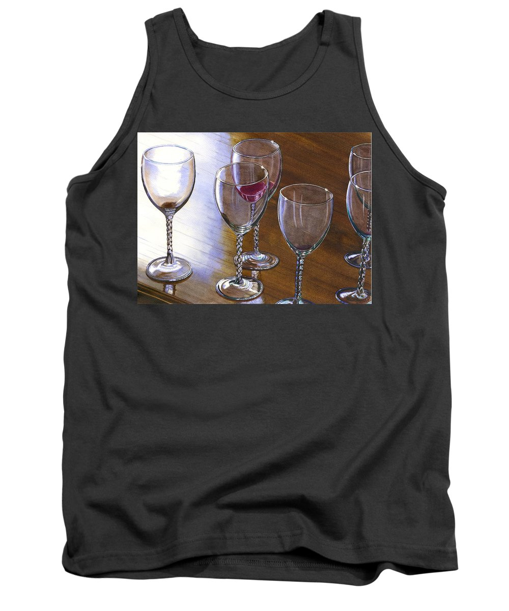 Glasses Tank Top featuring the painting Six Wine Glasses by Catherine G McElroy