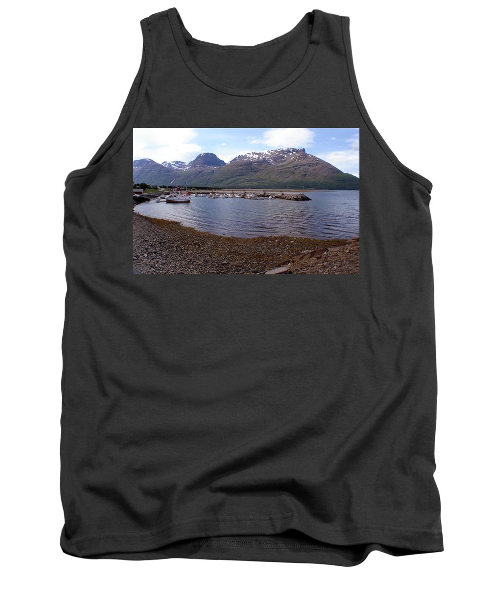 Skibotn Tank Top featuring the photograph Skibotn Harbor Norway by Merja Waters