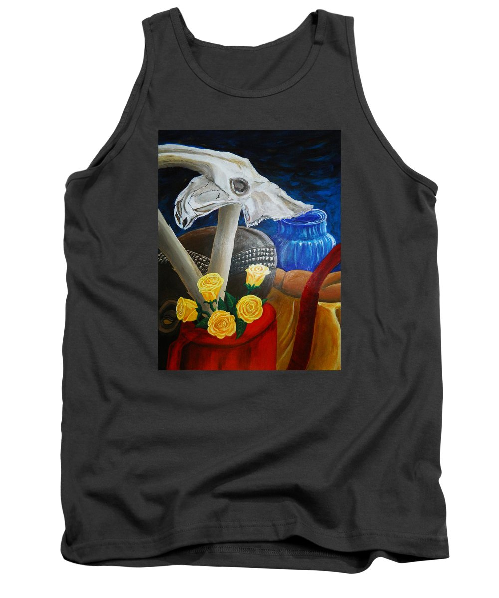 Skull Tank Top featuring the painting Skull by Samarpan Maharjan