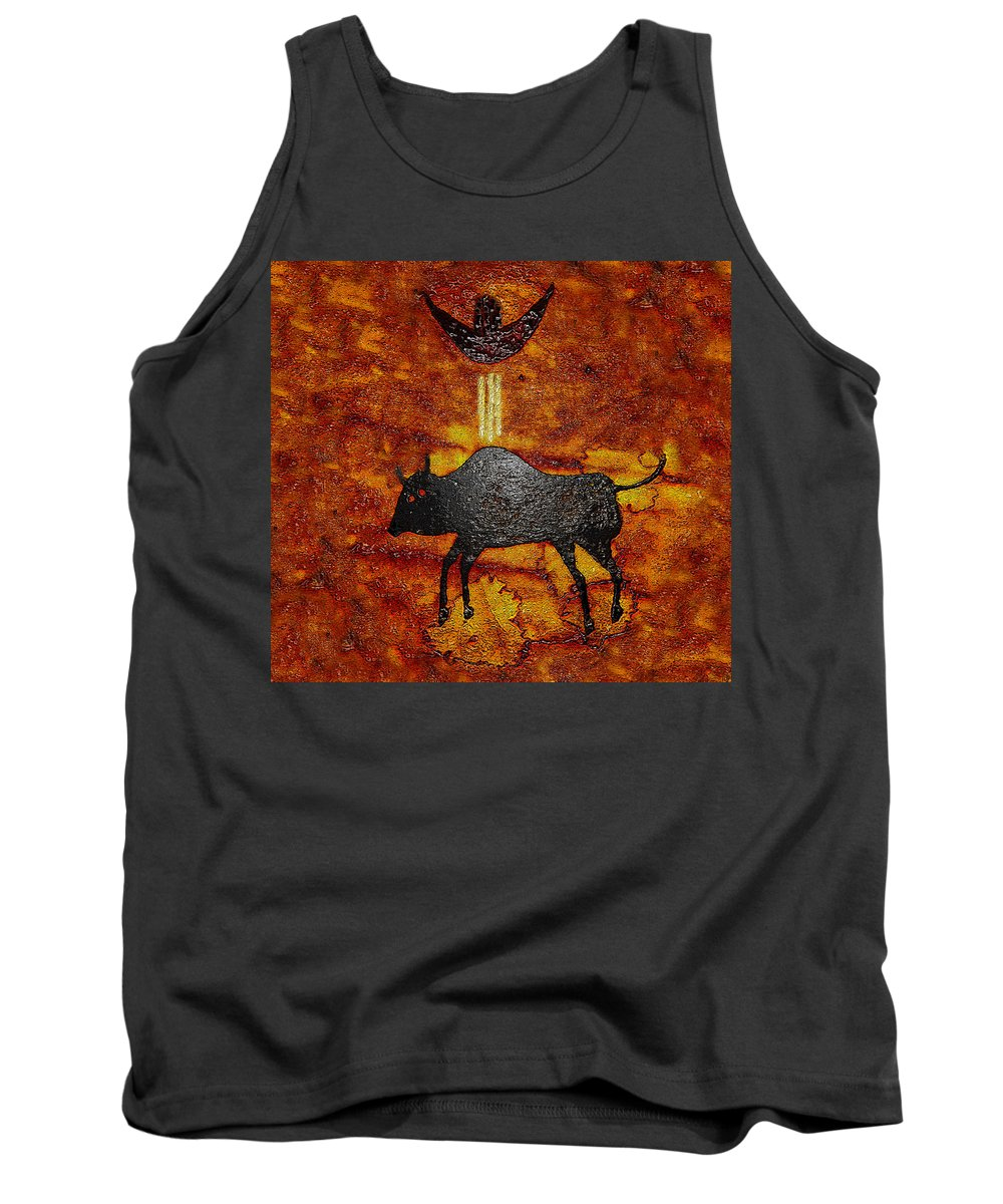 Art Tank Top featuring the painting Sky People Taking Buffalo by David Lee Thompson