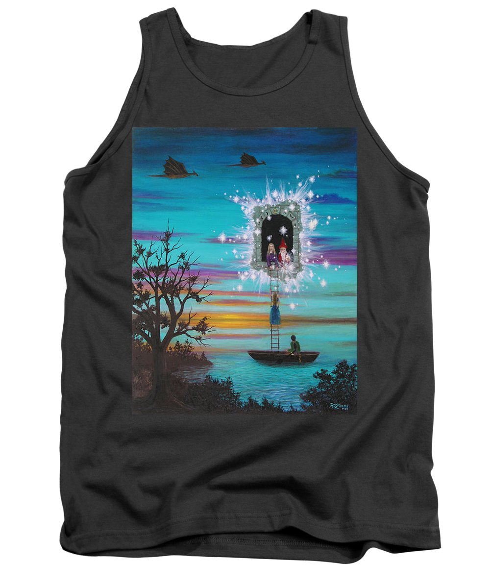 Fantasy Tank Top featuring the painting Sky Window by Roz Eve