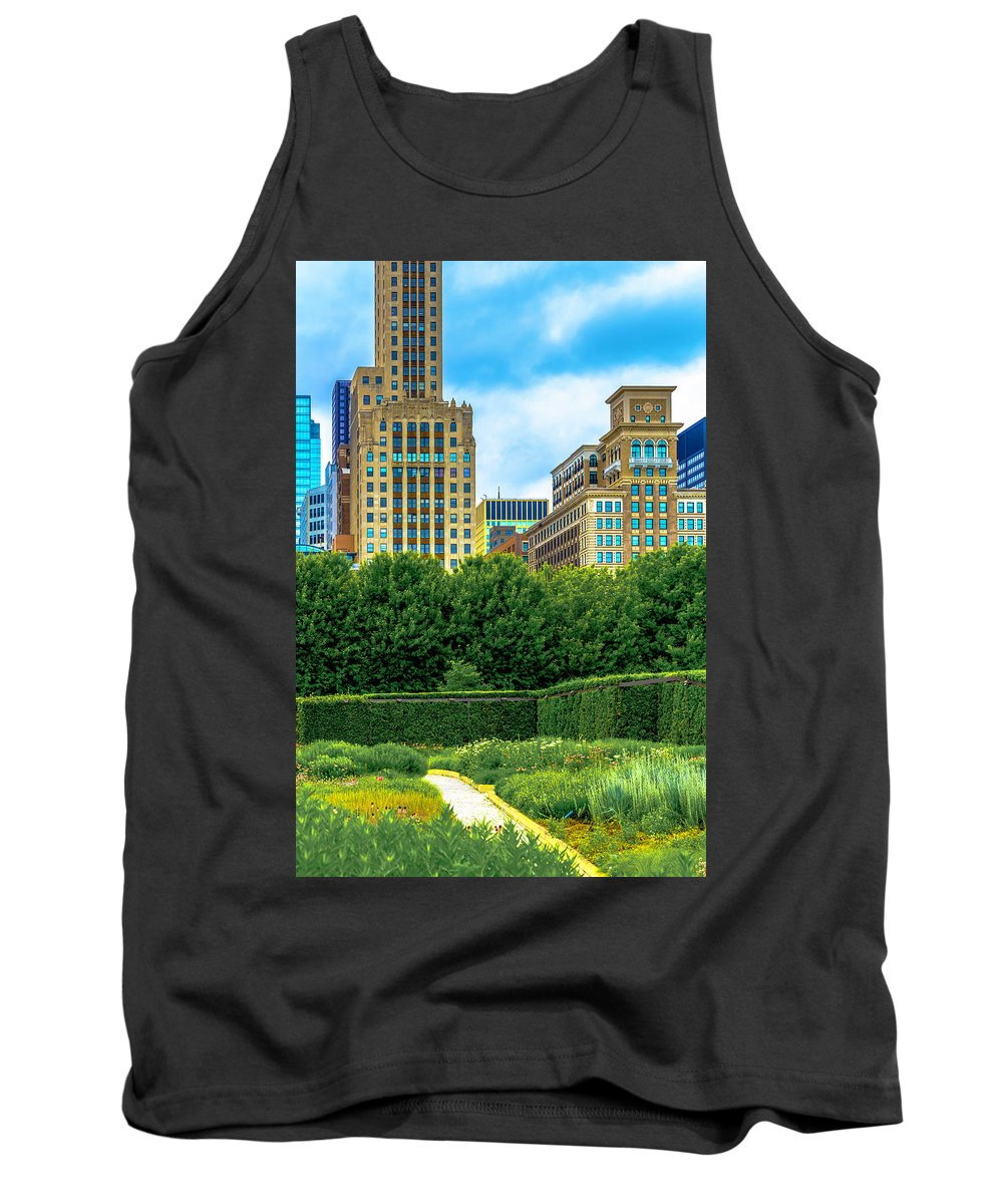 Tank Top featuring the photograph Skyline From Lurie Garden Dsc2670 by Raymond Kunst