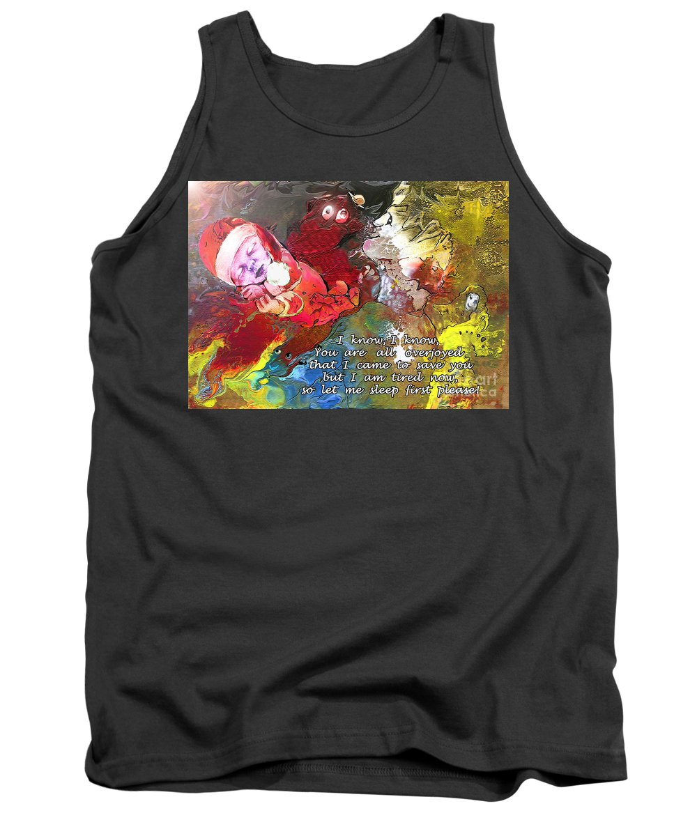Messiah Painting Tank Top featuring the painting Sleepig Messiah by Miki De Goodaboom