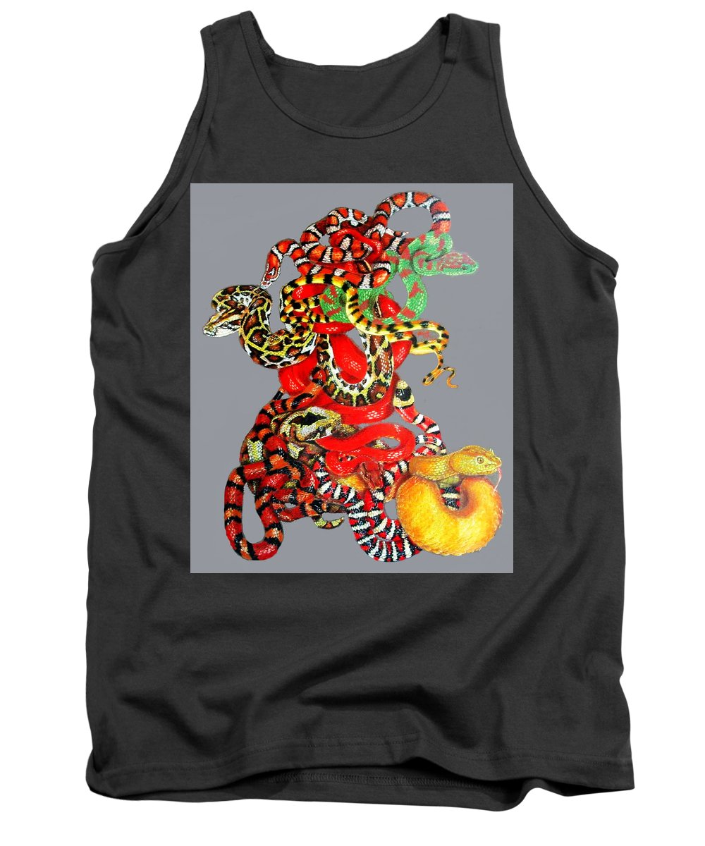 Reptile Tank Top featuring the drawing Slither by Barbara Keith