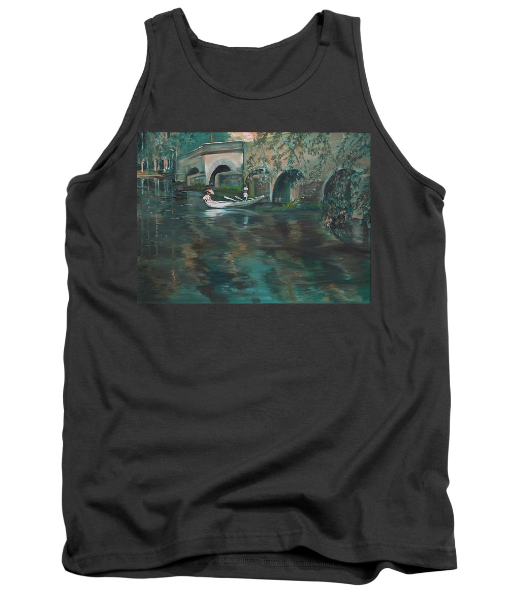 River Tank Top featuring the painting Slow Boat - Lmj by Ruth Kamenev