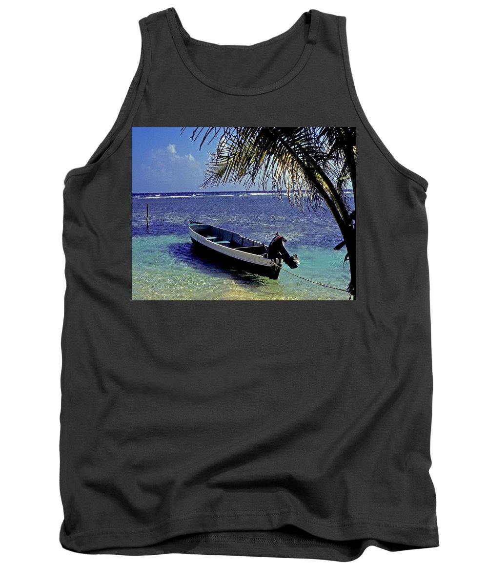 Boat Tank Top featuring the photograph Small Boat Belize by Gary Wonning