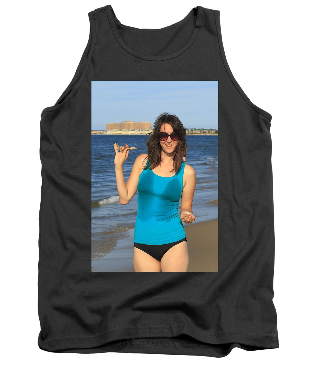 Background Tank Top featuring the photograph Smiling Hottie At The Beach by Travis Rogers