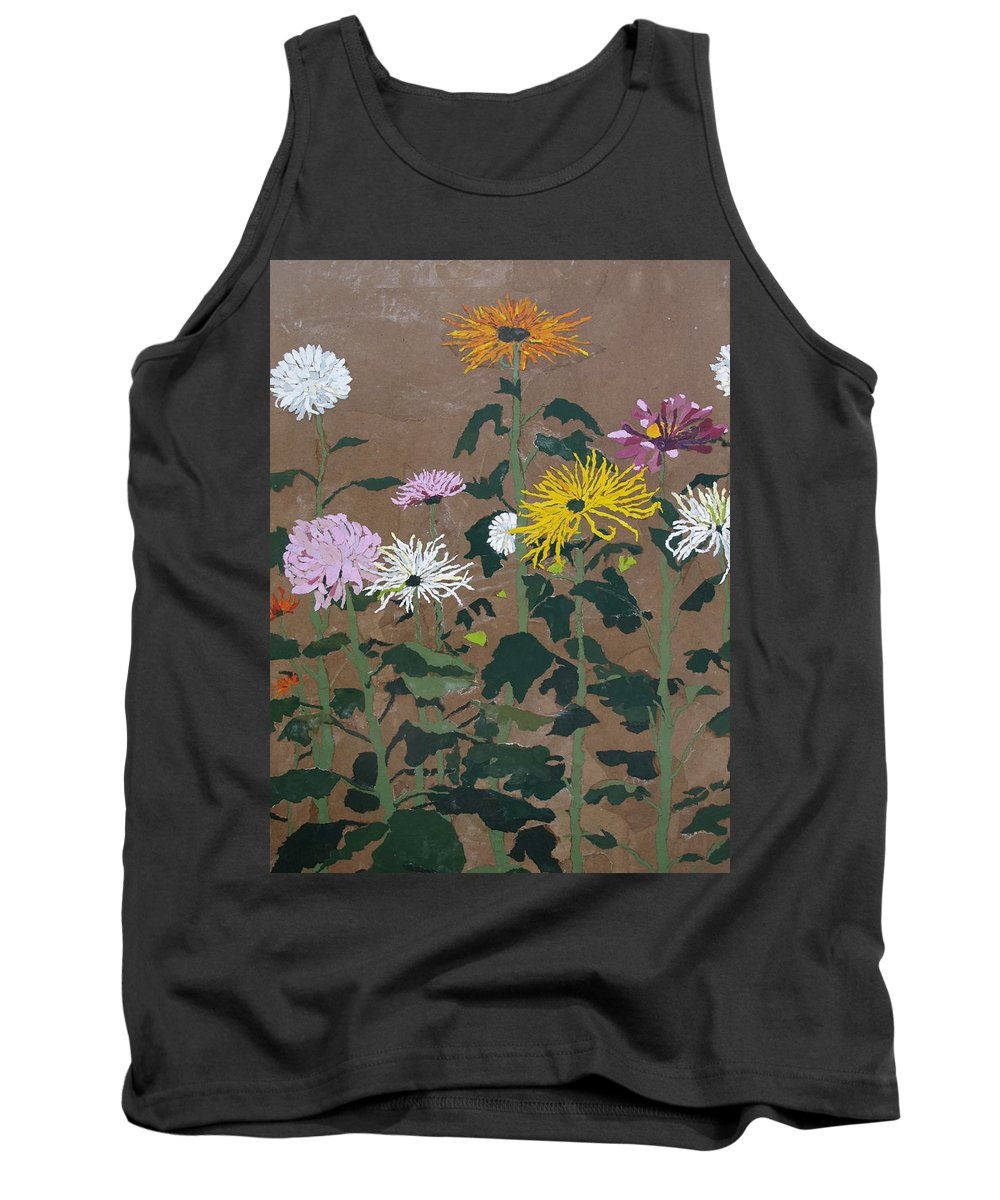 Collage Tank Top featuring the painting Smith's Giant Chrysanthemums by Leah Tomaino