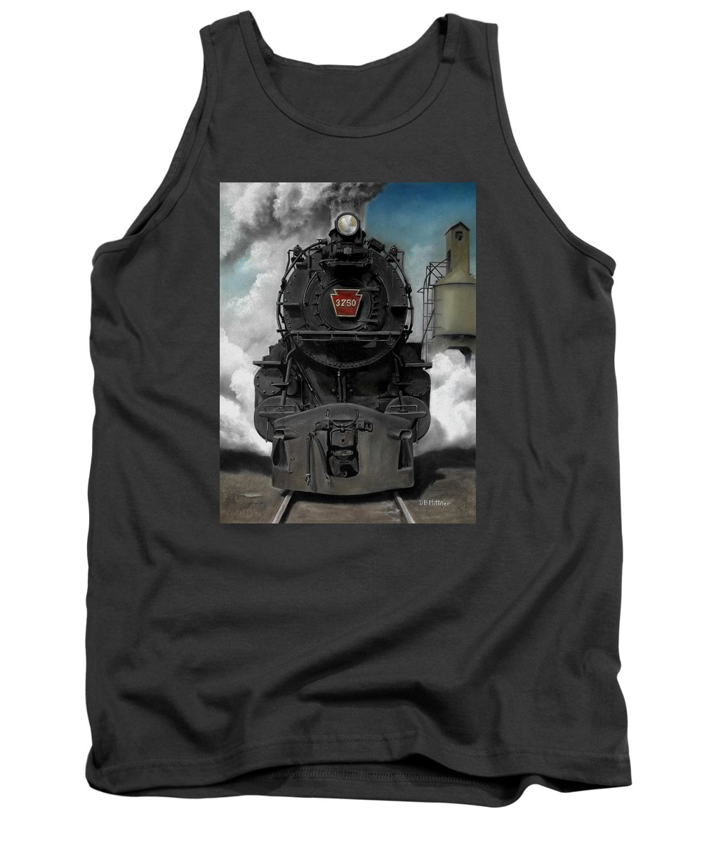 Trains Tank Top featuring the painting Smoke and Steam by David Mittner
