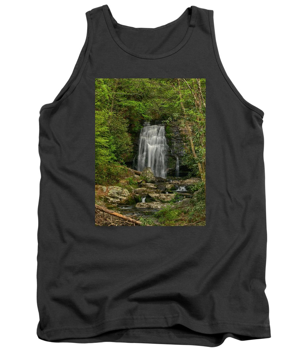 Ann Keisling Tank Top featuring the photograph Smokey Mountain Waterfall by Ann Keisling