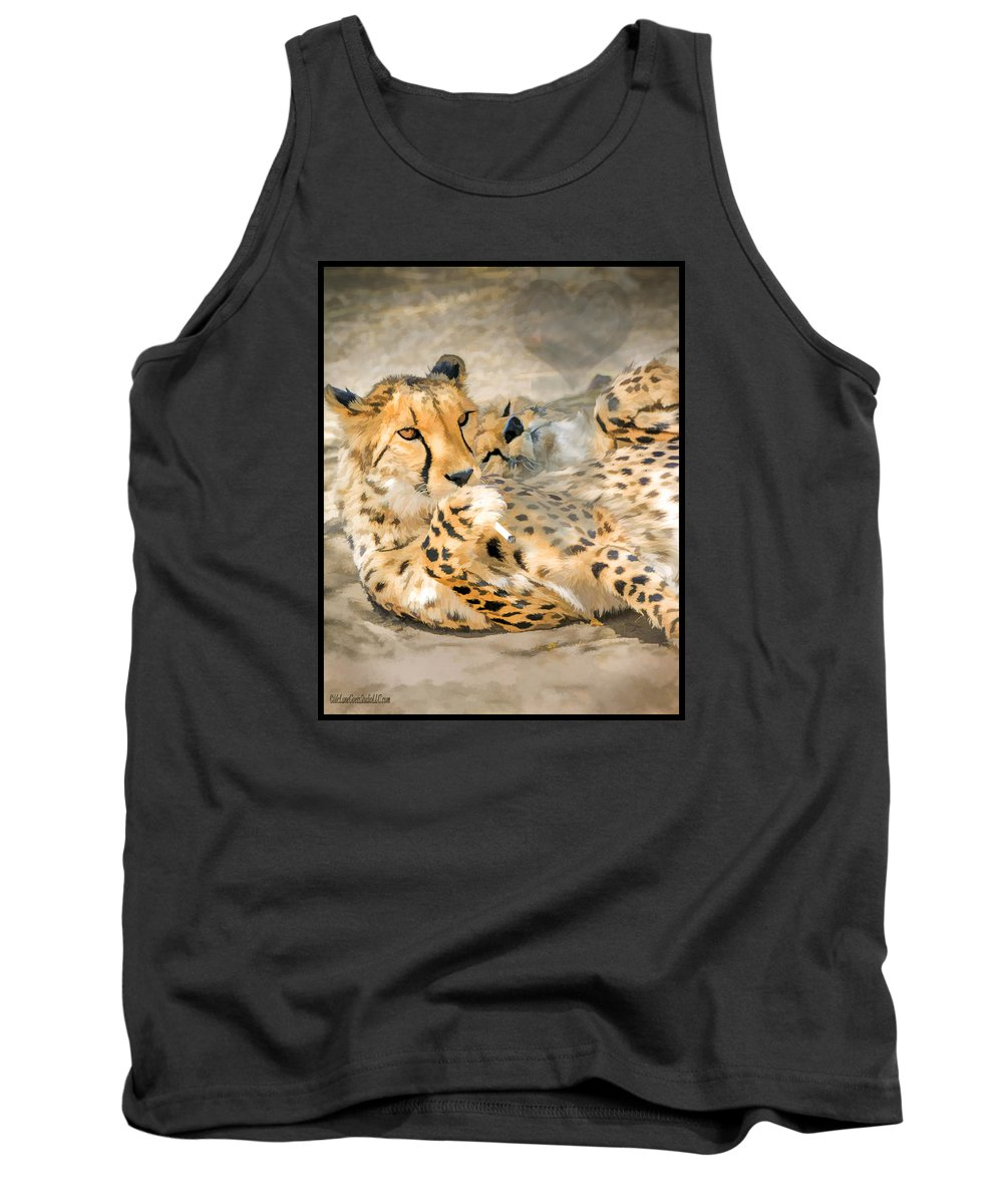 Cheetah Tank Top featuring the photograph Smokin Cheetah Love by LeeAnn McLaneGoetz McLaneGoetzStudioLLCcom