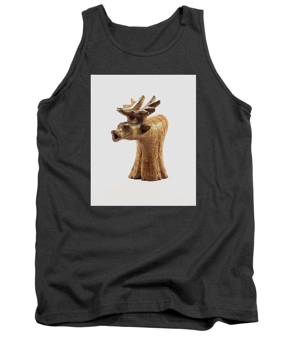 Moose Tank Top featuring the photograph Smokin' Moose by Greg Thiemeyer